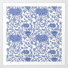 Chinoiserie Vines in Delft Blue + White Art Print