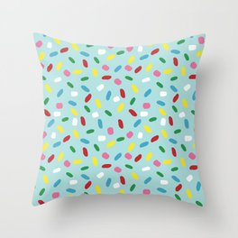 Sweet glazed, with colorful sprinkles on blue melting icing Throw Pillow