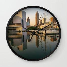 Cleveland Ohio City Skyline Harbor Gift Ideas Wall Clock