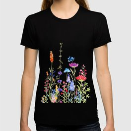 colorful wild flowers watercolor painting T-shirt