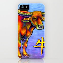 Chinese Zodiac Year of the Ox Colorful Bull iPhone Case