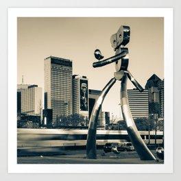 Dallas Texas Traveling Man Cityscape - Sepia Square Format Art Print