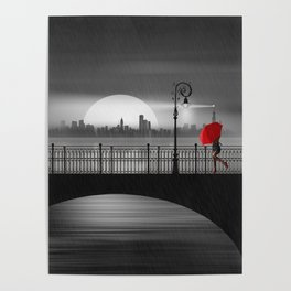 The bridge in the summer rain Poster