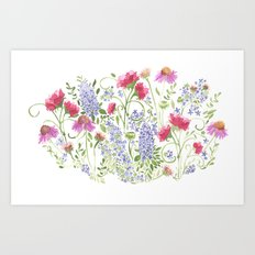 Flowering Meadow - Watercolor Art Print