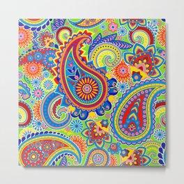 Colorful retro paisley pattern Metal Print