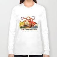 milwaukee Long Sleeve T-shirts featuring MILWAUKEE: What's Kraken, Milwaukee? by Amanda Iglinski
