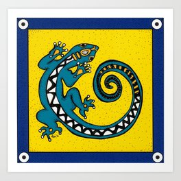 Tribal Gecko Art Print