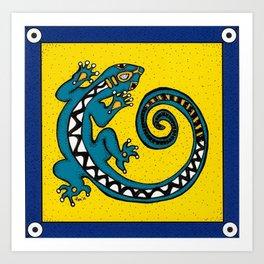 Tribal Gecko Art Print