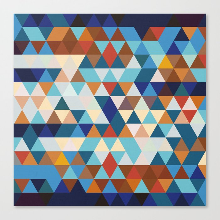Geometric Triangle Blue, Brown  - Ethnic Inspired Pattern Canvas Print