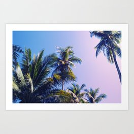 Pink Blue Tropical Island Sunset Landscape with Palm Trees Art Print