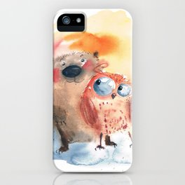 Bear with owl iPhone Case
