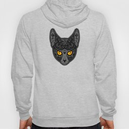 Gray Day of the Dead Sugar Skull Cat Hoody