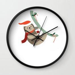 Merry Slothmas Funny Christmas Santa Hat Holly Wall Clock