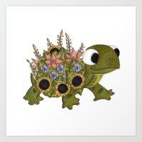 Floral Tortoise Art Print
