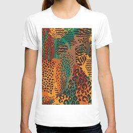 Orange green brown safari animal print T-shirt