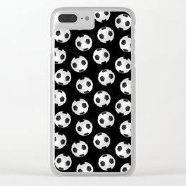 Soccer Ball Pattern-Black Clear iPhone Case