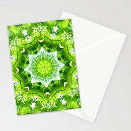 GREEN LEAVES MANDALA Stationery Cards