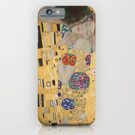 Gustav Klimt, The Kiss (Lovers), Detail Embrace, 1908 - Reproduction under Belvedere, Vienna, Creative Commons License CC BY-SA 4.0 iPhone Case