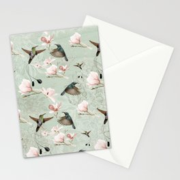 Vintage Watercolor hummingbird and Magnolia Flowers on mint Background Stationery Cards