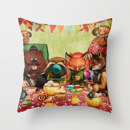 Woodland Friends at Teatime in Forest Throw Pillow