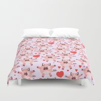pigs Duvet Covers featuring pigs by elvia montemayor
