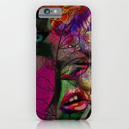 Mysterious Jungle Beauty: a colorful abstract piece in reds and greens by KKingCreations iPhone Case