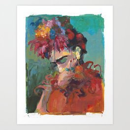 with Flowers Art Print