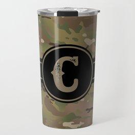 Camouflage Monogram: Letter C Travel Mug