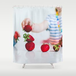 Strawberry Stack Shower Curtain