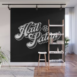 Hail Satan - Grayscale pop vintage letters Wall Mural