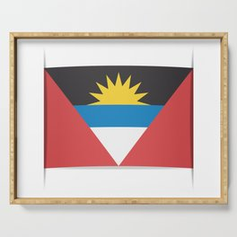 Flag of Antigua and Barbuda.  The slit in the paper with shadows. Serving Tray