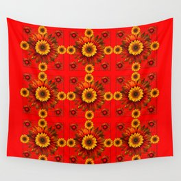 RED & YELLOW SUNFLOWER PATTERN Wall Tapestry