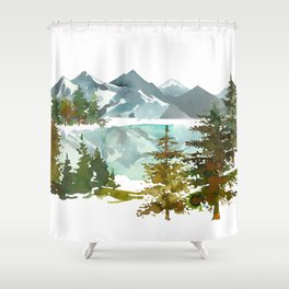Forest green teal blue watercolor hand painted landscape Shower Curtain