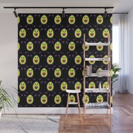 Happy Avocados on Black Wall Mural