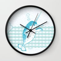 narwhal Wall Clocks featuring Narwhal by 。i。f。studio