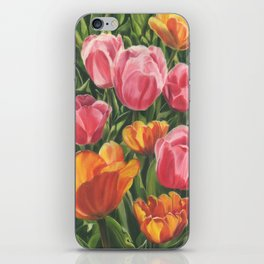 Pink and Yellow Tulips iPhone Skin