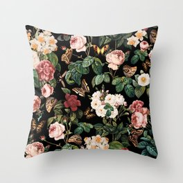 Floral and Butterflies Throw Pillow