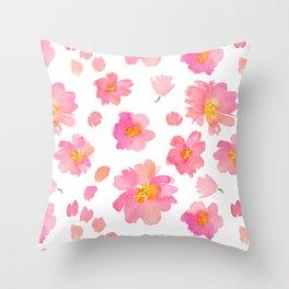 Pink Florals Throw Pillow