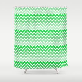 Green Ombre Chevron Shower Curtain