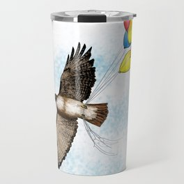 Hawk on his way to a party | Color Travel Mug