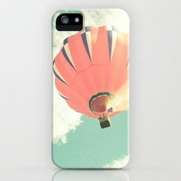 Nursery coral hot air balloon over mint sky iPhone Case