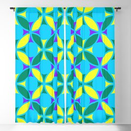 Geometric Floral Circles Vibrant Color Challenge In Bold Purple Yellow Green & Turquoise Blue Blackout Curtain
