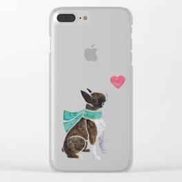 Watercolour Boston Terrier Clear iPhone Case