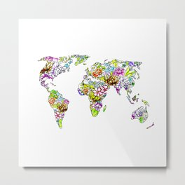 flowers in the world map Metal Print