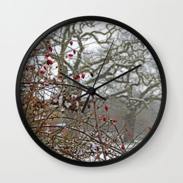 Winter berries and snow Wall Clock