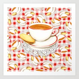 Cup of Tea, a Biscuit and Red Gingham Art Print