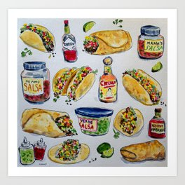 tacos burritos hot sauce and salsa Art Print