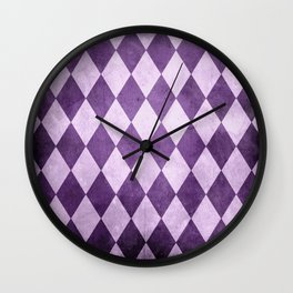 Grape Harlequin Grunge Wall Clock