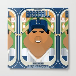 Baseball Blue Pinstripes - Rhubarb Pitchbatter - Seba version Metal Print