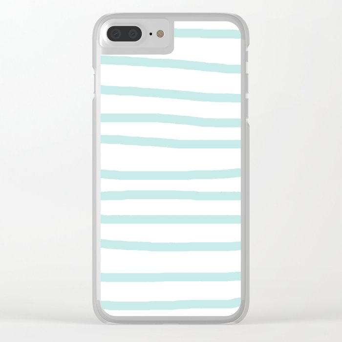 Simply Drawn Stripes Succulent Blue on White Clear iPhone Case